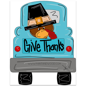 Thanksgiving Turkey Truck Door Hanger - Unfinished