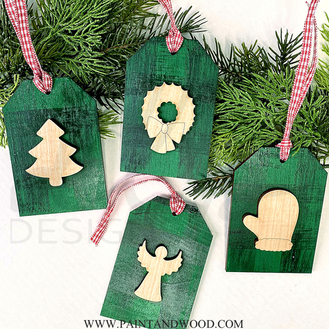Tag Ornament Set with 3D Pieces - Unfinished