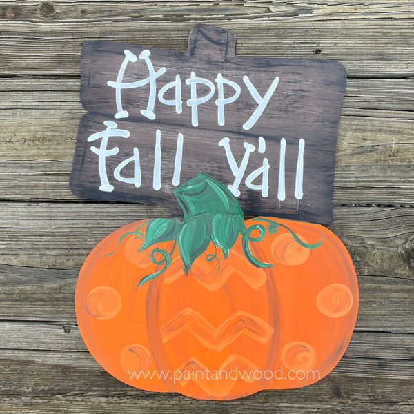 Pumpkin with Wood Sign Hanger - Unfinished
