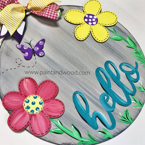 Circle with Flowers Door Hanger - Unfinished