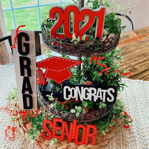 Graduation Tiered Tray Decor Craft Kit