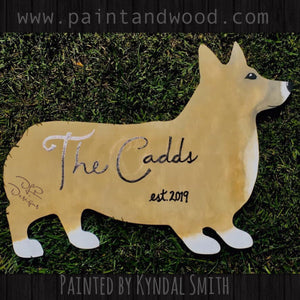 Corgi Dog Door Hanger - Unfinished