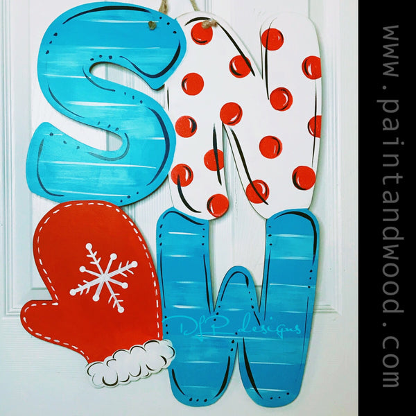 Winter Mitten SNOW Door Hanger - Unfinished