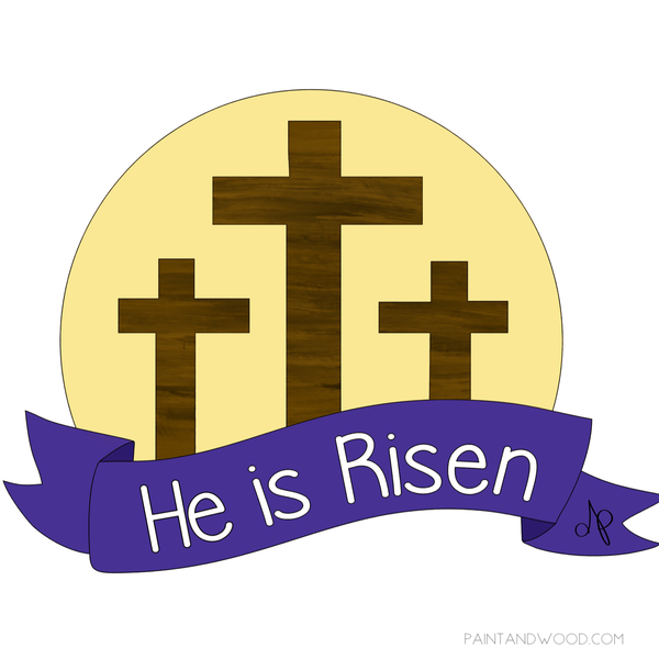 He is Risen Cross Door Hanger - Unfinished