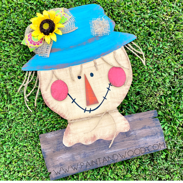 Scarecrow with Wood Slat Door Hanger