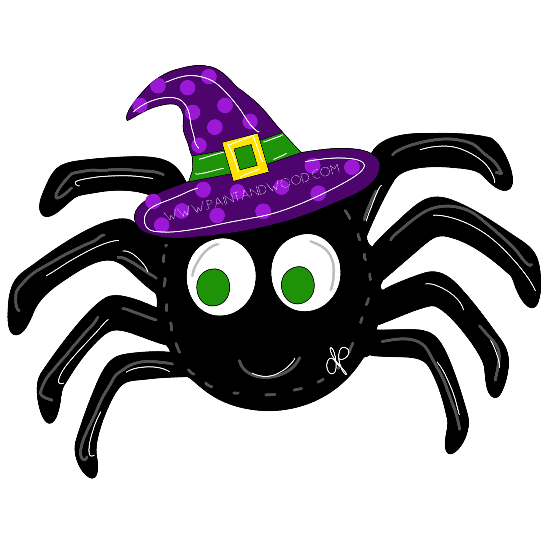 Spider with Witch Hat Door Hanger - Unfinished