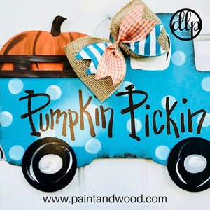 Fall 3D Pumpkin Truck Door Hanger - Unfinished