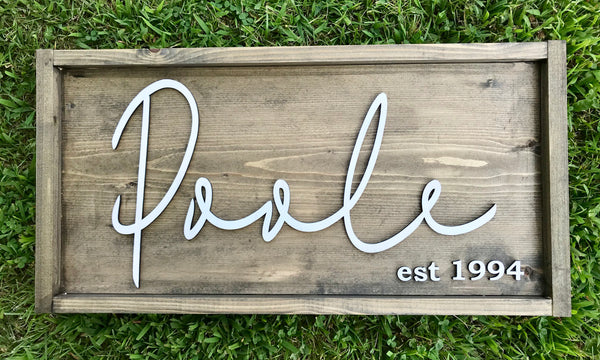 Last Name Personalized Sign Lettering - Unfinished
