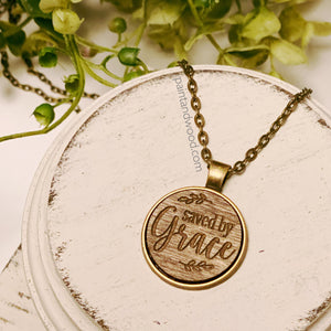 Saved by Grace Necklace with Wood Engraved Pendant