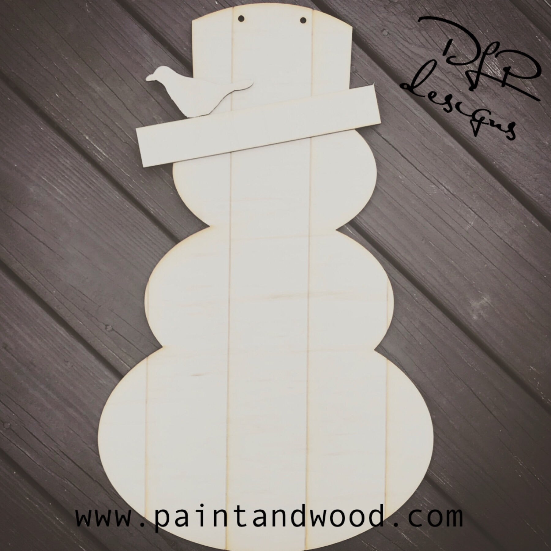 Winter Rustic Farmhouse Snowman - Unfinished