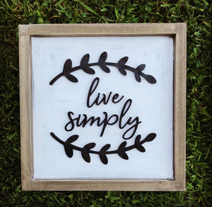 Live Simply 3D Sign Lettering - Unfinished