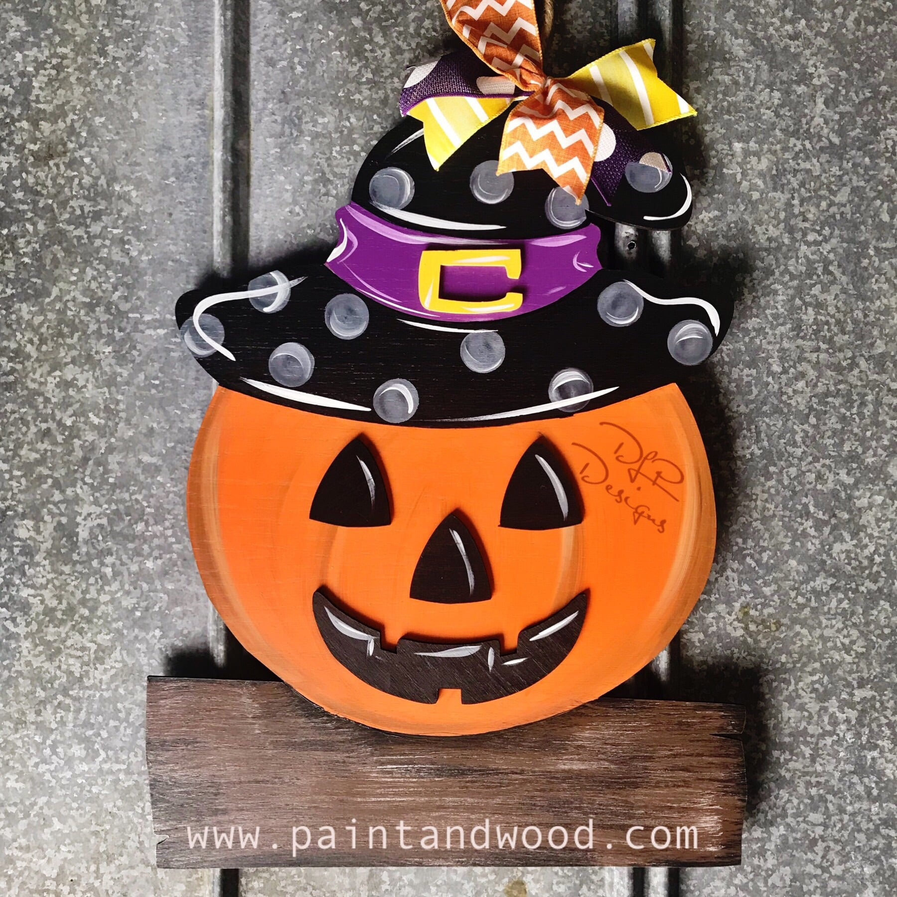 Pumpkin with Witch Hat Door Hanger - Unfinished