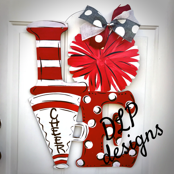 Cheer - LOVE Door Hanger - Unfinished