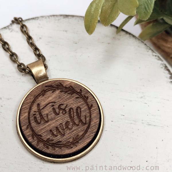 Necklace with Wood Engraved Pendant
