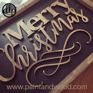 Merry Christmas 3D Home Decor Sign Unfinished Lettering