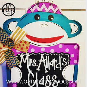 Sock Monkey Sign Door Hanger - Unfinished