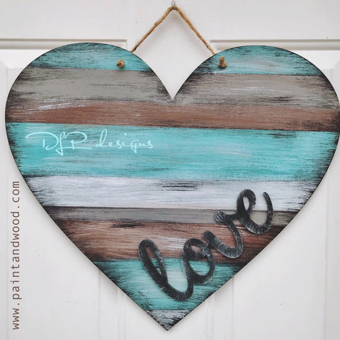 Heart with LOVE lettering Door Hanger - Unfinished