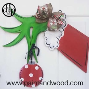 Grinch Hand Door Hanger - Unfinished