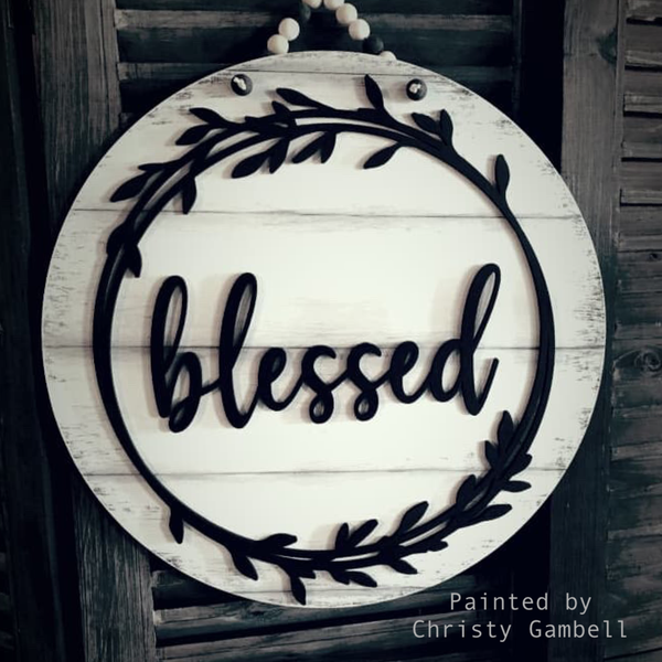 Blessed Farmhouse Door Hanger - Unfinished