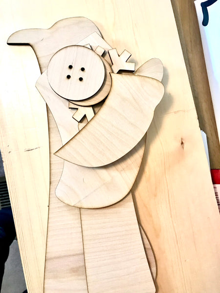 Snowman Porch  Sign Pieces Unfinished