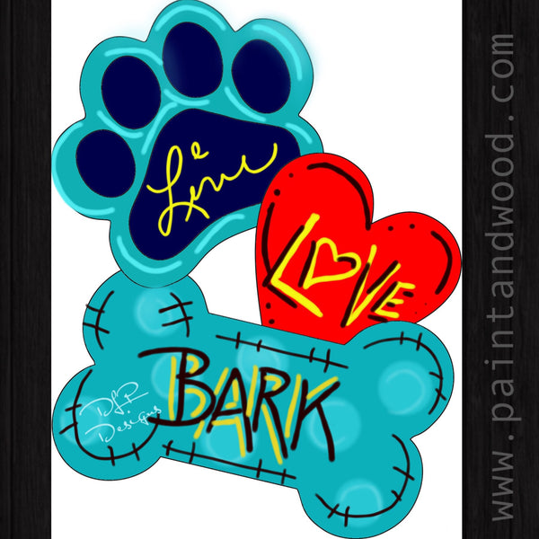 Paw Print, Heart, and Dog Bone Door Hanger - Unfinished