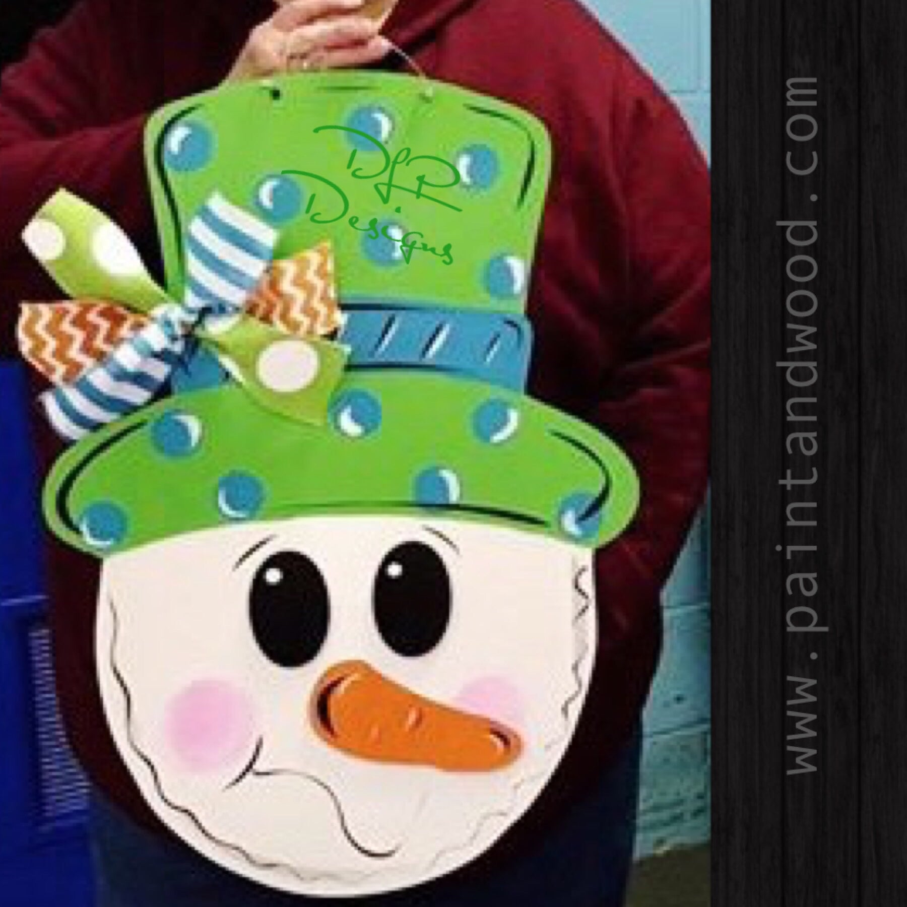 Snowman Head Door Hanger - Unfinished