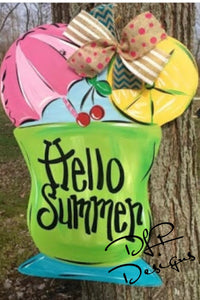 Summer Drink Door Hanger - Unfinished