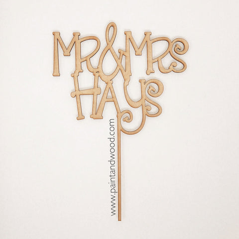 Cake Topper Mr. and Mrs. with Last Name Whimsical - Unfinished