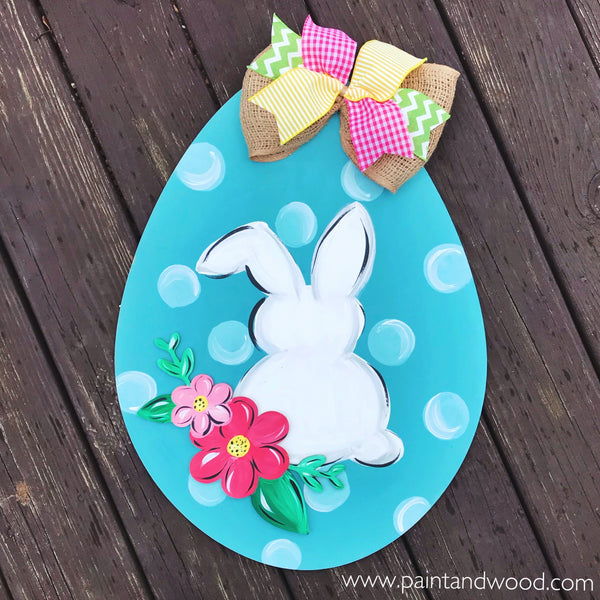Easter Egg with Bunny and Flowers  Hanger – Unfinished