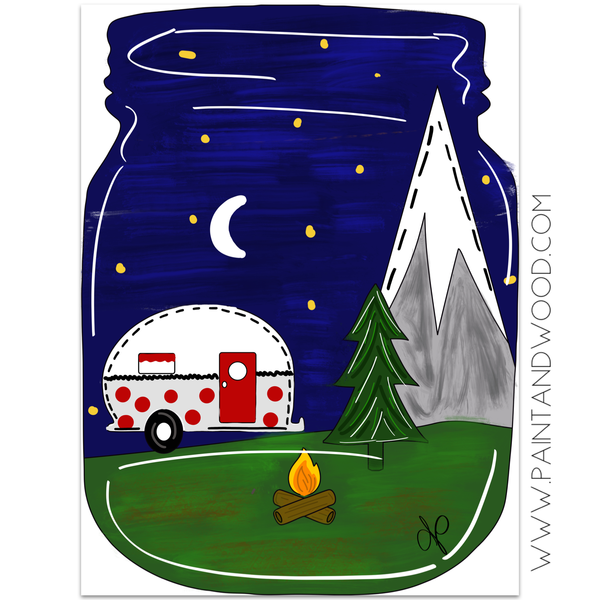 Camping Mason Jar Door Hanger - Unfinished