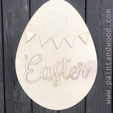 Easter Egg with Pennants and Easter Hanger – Unfinished