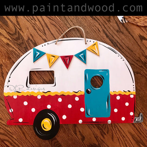 Camper with 3D Pennant Pieces Door Hanger - Unfinished