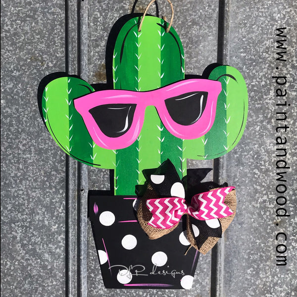 Cactus with Glasses Door Hanger - Unfinished