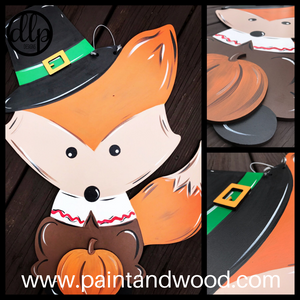 Thanksgiving Pilgrim Fox Door Hanger - Unfinished