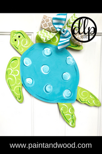 Summer Sea Turtle Door Hanger - Unfinished