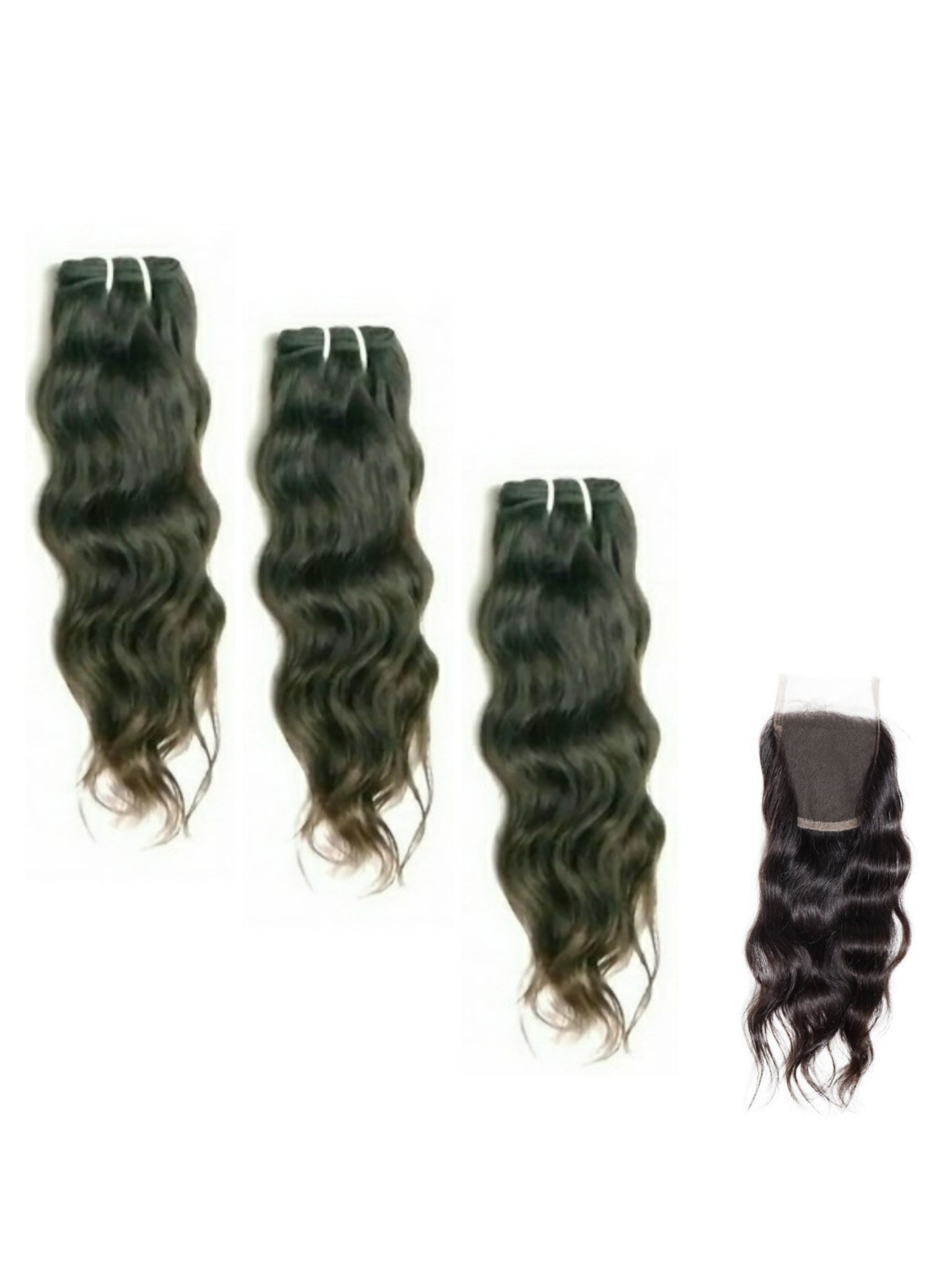 Human Hair Extensions - Raw Indian Wavy 3 Bundles 14 16 18 Plus Closure