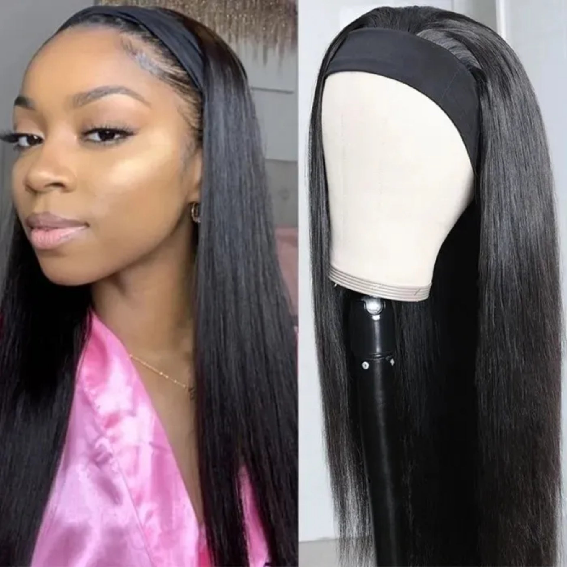 Straight Human Hair Headband Wig