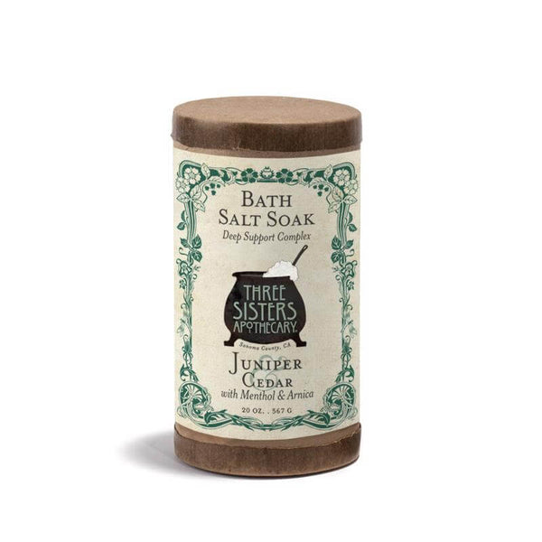 Three Sisters Apothecary Bath Soak Juniper Cedar 20oz-Bath Time-The Scarlet Sage Herb Co.