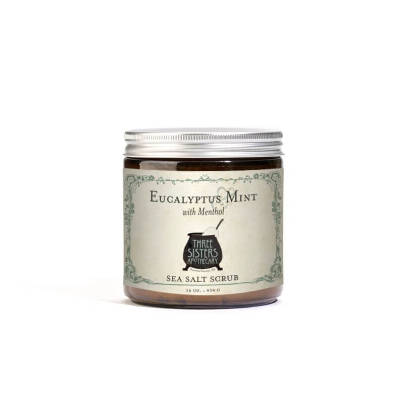 Three Sisters Apothecary Salt Scrub Eucalyptus Mint 16oz - The Scarlet Sage Herb Co.
