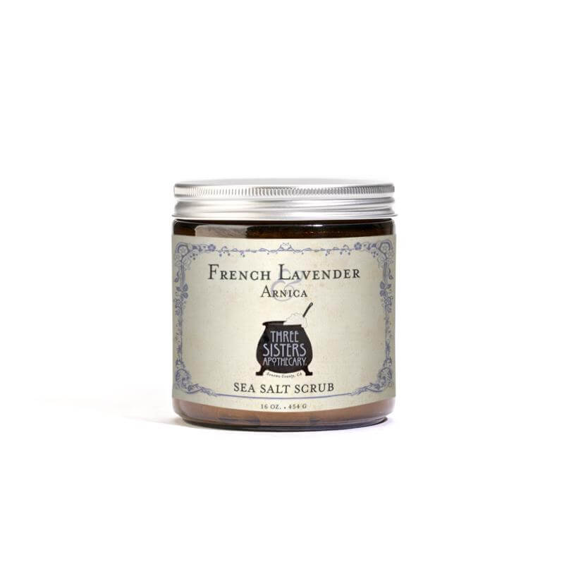 Three Sisters Apothecary Salt Scrub French Lavender 16oz - The Scarlet Sage Herb Co.