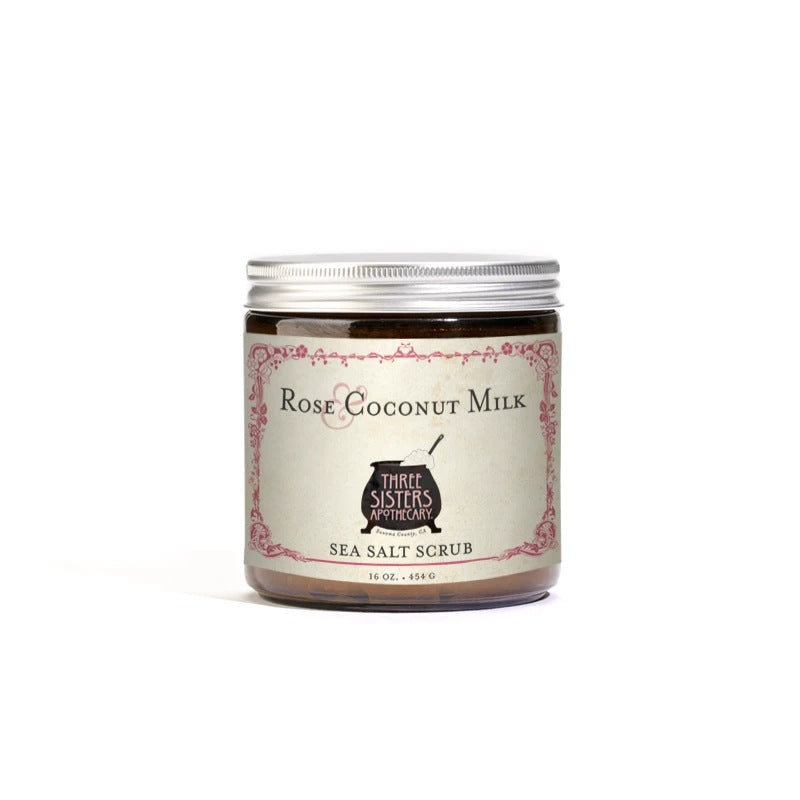 Three Sisters Apothecary Salt Scrub Rose Coconut 16oz - The Scarlet Sage Herb Co.