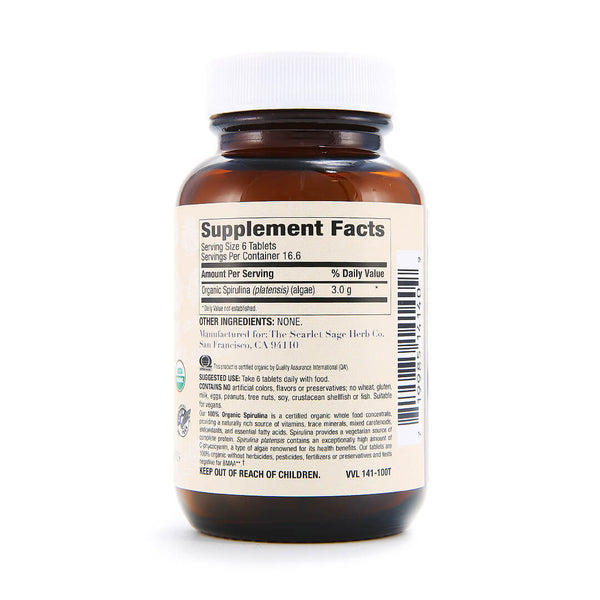Scarlet Sage Spirulina 500mg 100ct - The Scarlet Sage Herb Co.