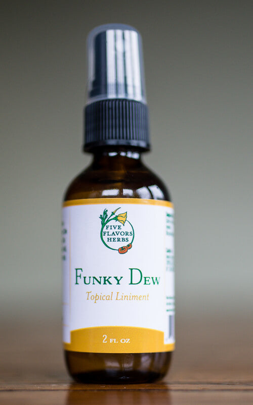 Five Flavors Herbs Liniment Funky Dew 2oz - The Scarlet Sage Herb Co.