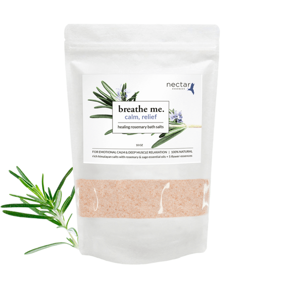 Nectar Essences Calm Relief Bath Salts 10oz - The Scarlet Sage Herb Co.