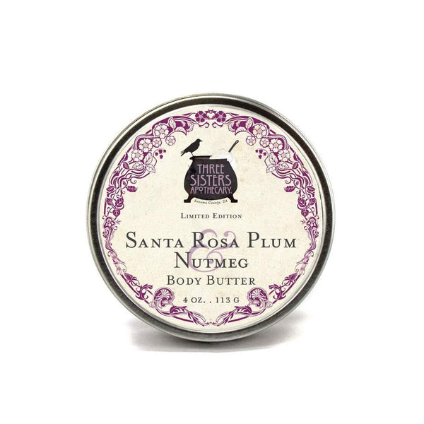Three Sisters Apothecary Body Butter Santa Rosa Plum Nutmeg 4oz - The Scarlet Sage Herb Co.