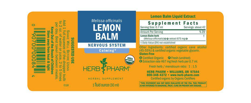 Herb Pharm Lemon Balm 1oz-Tinctures-The Scarlet Sage Herb Co.