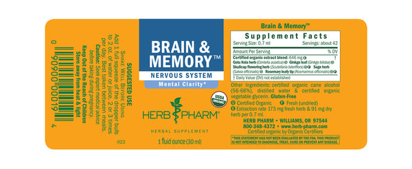 Herb Pharm Brain & Memory 1oz-Tinctures-The Scarlet Sage Herb Co.