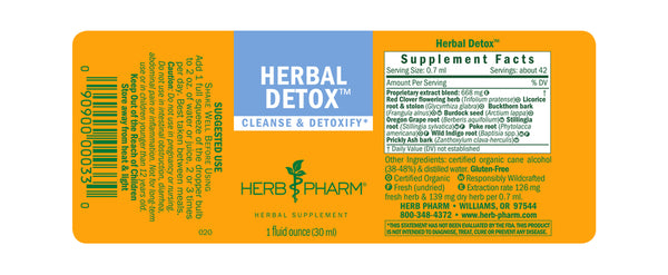 Herb Pharm Herbal Detox 1oz-Tinctures-The Scarlet Sage Herb Co.