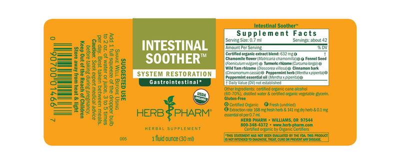 Herb Pharm Intestinal Soother 1oz-Tinctures-The Scarlet Sage Herb Co.