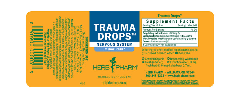Herb Pharm Trauma Drops 1oz-Tinctures-The Scarlet Sage Herb Co.